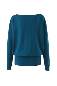 Inari Women's petrol cashmere O-neck sweater - back side - 100% high-quality cashmere