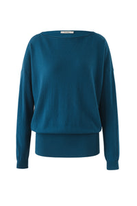 Inari Women's petrol cashmere O-neck sweater - front side - 100% high-quality cashmere
