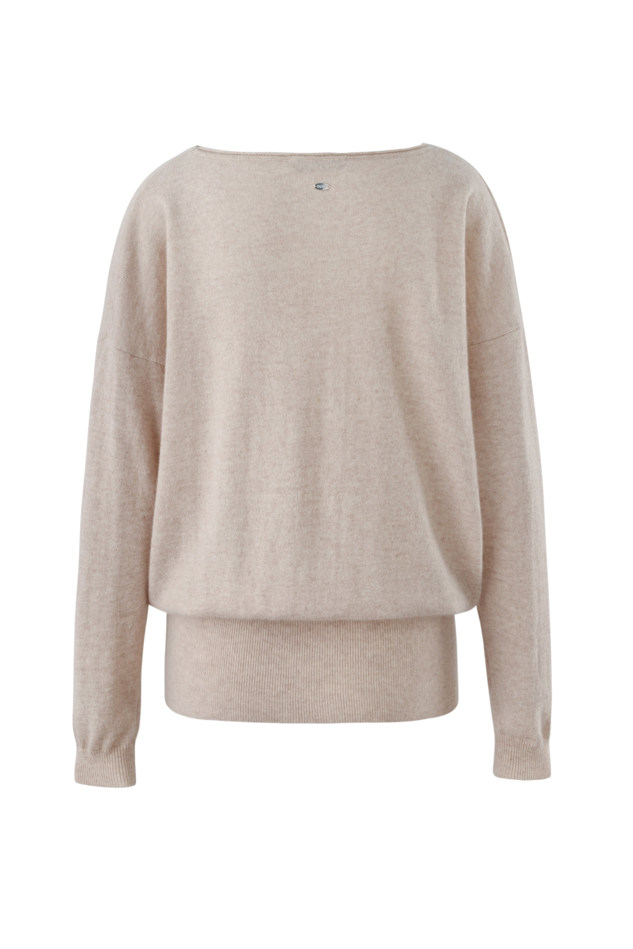 Inari Women's beige cashmere O-neck sweater - back side - 100% high-quality cashmere