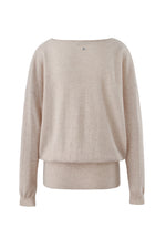Load image into Gallery viewer, Inari Women's beige cashmere O-neck sweater - back side - 100% high-quality cashmere
