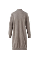 Lataa kuva Galleria-katseluun, Inari Women's brown cashmere cardigan - back side - 100% high-quality cashmere