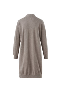 Inari Women's brown cashmere cardigan - back side - 100% high-quality cashmere