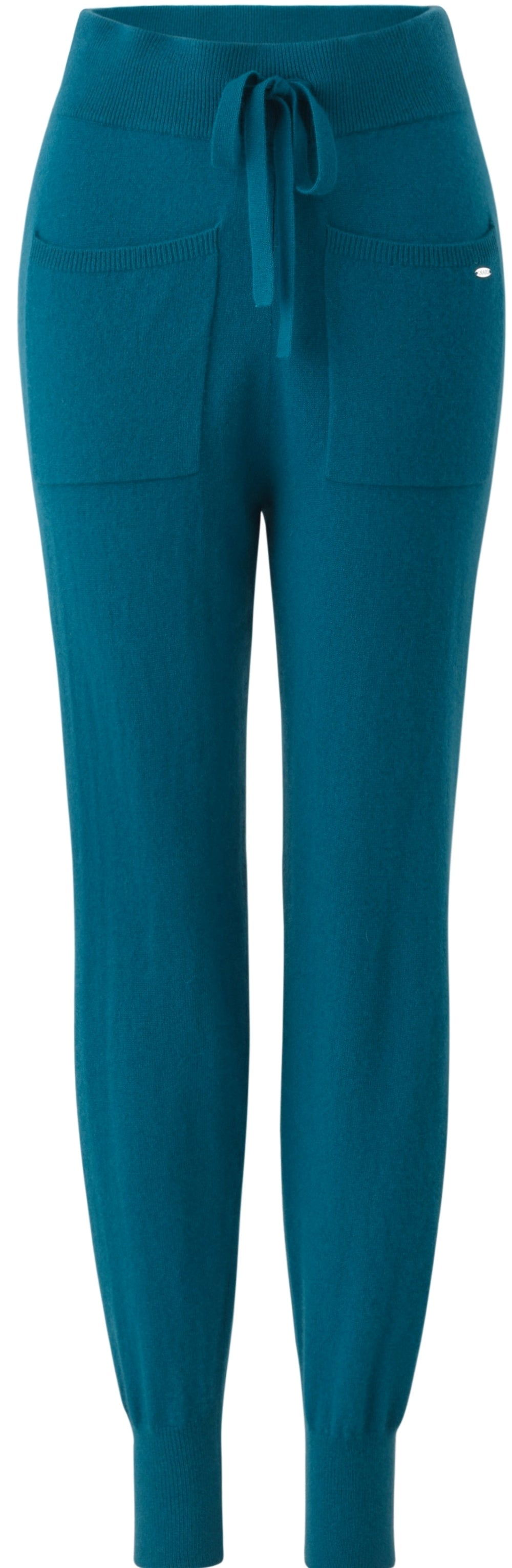 Inari Women's petrol cashmere pants - front side - 100% high-quality cashmere - Inari-clothing.fi