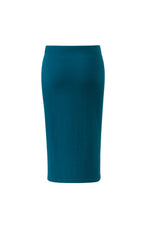 Lataa kuva Galleria-katseluun, Inari Women's petrol cashmere skirt - back side - 100% high-quality cashmere