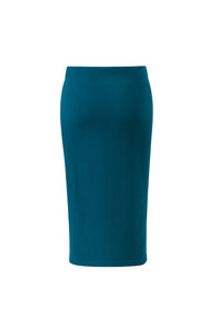 Inari Women's petrol cashmere skirt - back side - 100% high-quality cashmere