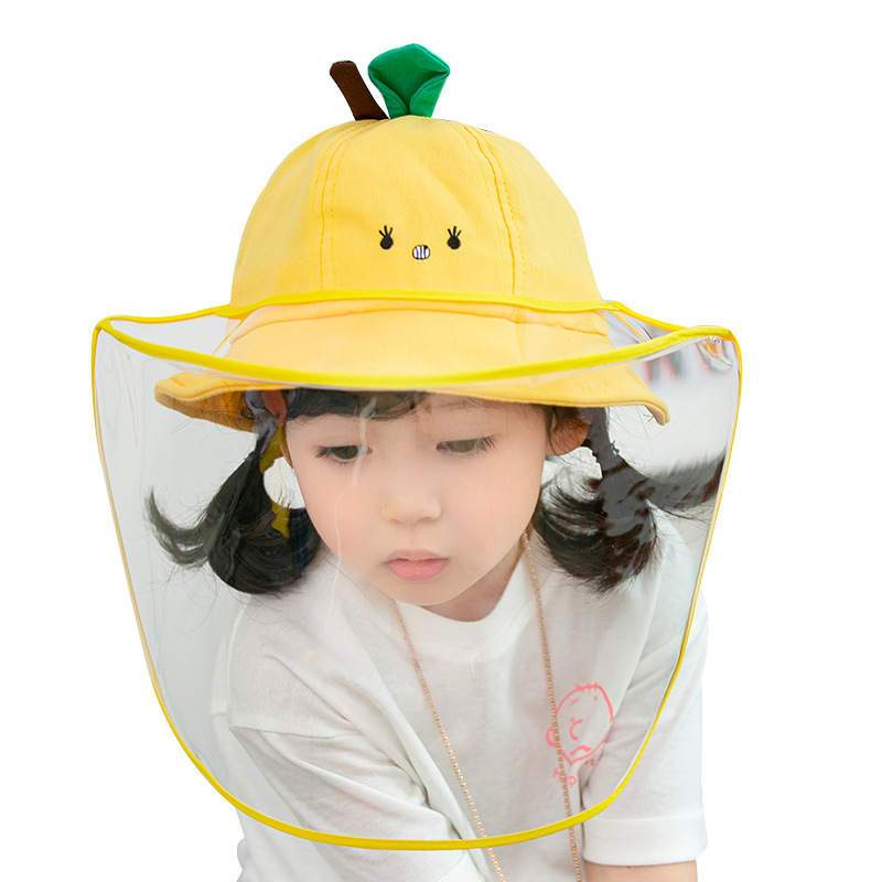 Wide brim bucket Faceshield Face Shield covid coronavirus facial covering Yellow Stem & Leaf