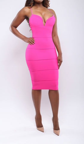 Saint Topez Pink Bandage Midi Dress