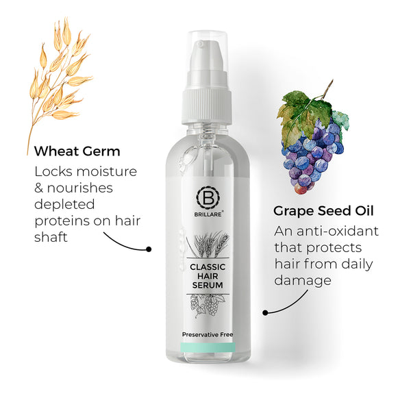 Image mentioning benefits of Brillare Hair Serum which replenish lost proteins and moisture along with non-greasy and non-sticky effect Shots which clears dandruff from the first wash and gives healthy and comfortable scalp