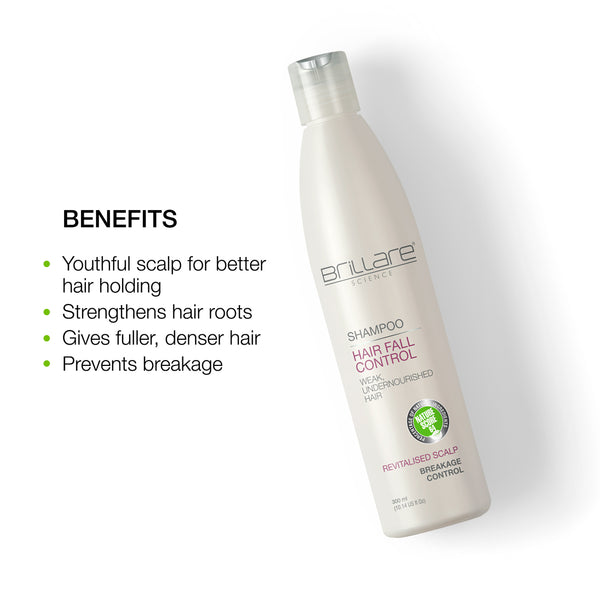 Image mentioning the benefits of Brillare Hair fall Control Shampoo which provides youthful scalp, strengthens hair roots, gives fuller and denser hair