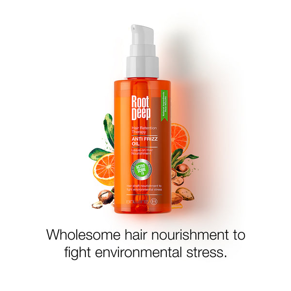 Image of Root Deep Anti Frizz Oil for wholesome hair nourishment to fight environmental stress