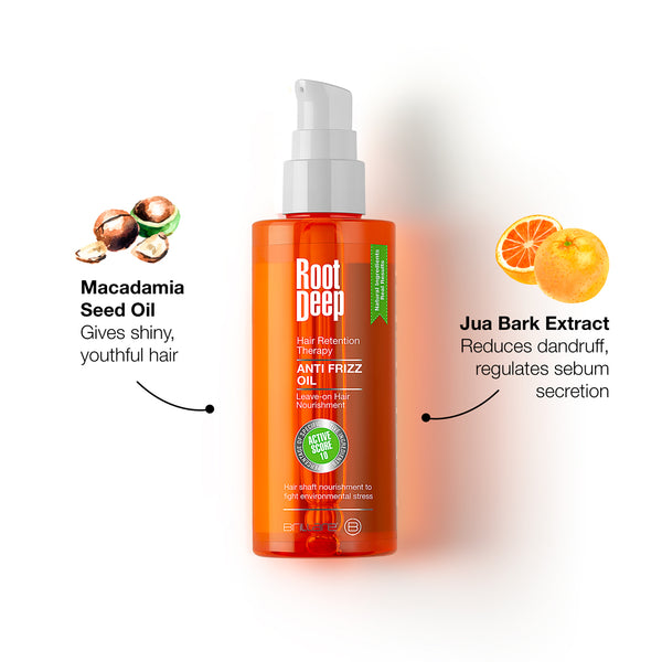 Image of Root Deep Anti Frizz Oil with key ingredients of Macadamia Oil to give shiny youthful hair and Jua Bark Extract which reduce dandruff and regulate sebum secretion