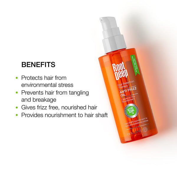 Image of Root Deep Frizz Oil which protects hair from environmental stress, prevents hair from tangling and provides nourishment to hair shafts