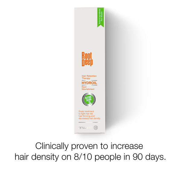 Image showing the outer packaging of Root Deep Hydroil , a clinically proven solution to increase hair density on 8/10 people in 90 days
