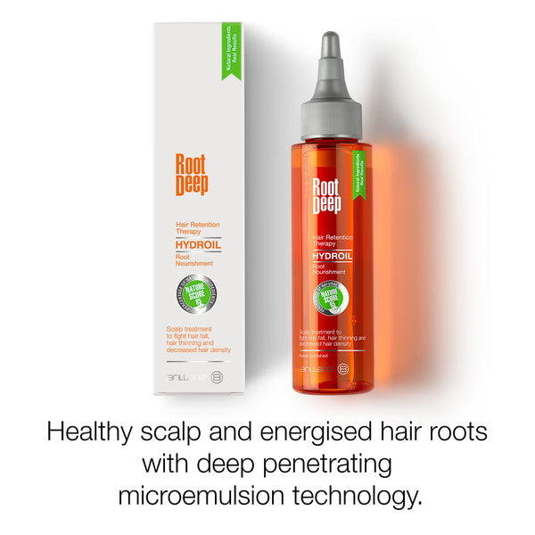 Image showing the benefits of Root Deep Hydroil for healthy scalp and energised hair roots with deep penetrating micro-emulsion technology