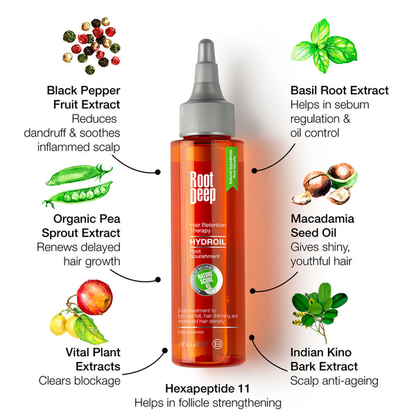 Image showing the key ingredients of Root Deep Hydroil which are Black Pepper fruit extracts, Basil Root extract, Organic Pea Sprout extract, Macadamia Seed Oil, Indian Kino bark effect along with vital plant extracts to help hair follicle strengthening