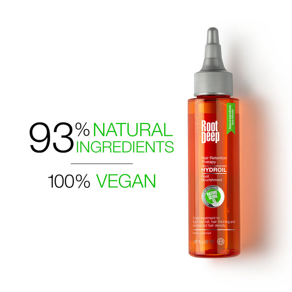 Image showing the nature score of 93% for natural ingredients and 100% vegan ingredients for Root Deep Hydroil Hair Retention theraphy