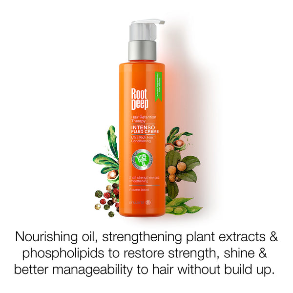 Root Deep Intenso Cream, a nourishing oil with strengthening plant extracts to restore strength, shine and better manageability to hair