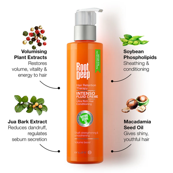 Root Deep Intenso Fluid Creme with jua bark extract, macadamia seed oil, soybean phospholipids and plant extracts to restore vitality to hairs, reduce dandruff and give shiny, youthful hair