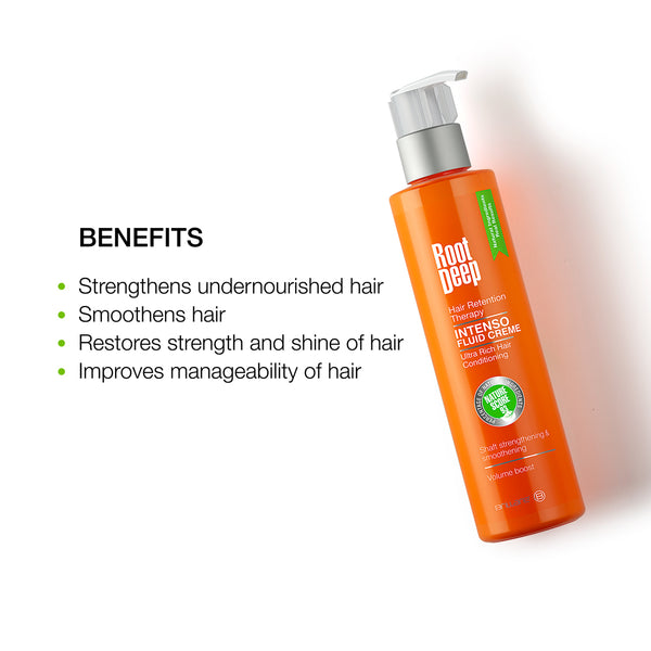 Root Deep Intenso Fluid Creme to strengthen undernourished hairs, smoothen hair, restore strength and improve manageability