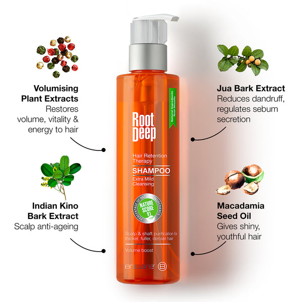 Image of Root Deep Shampoo with key ingredients like Jua Bark Extract, Indian Kino extract, Macadamia Oil and plant extracts to give shiny, youthful hair