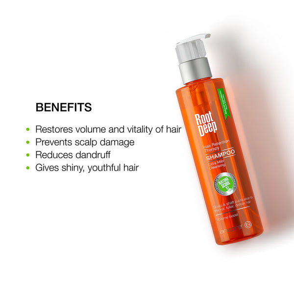 Image of Root Deep Shampoo which restories volume and vitality of hair, reduce dandruff and gives shiny youthful hair