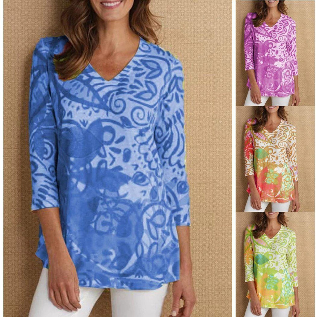 3/4 Sleeve Printed Casual V Neck T-Shirts AmericanGalore