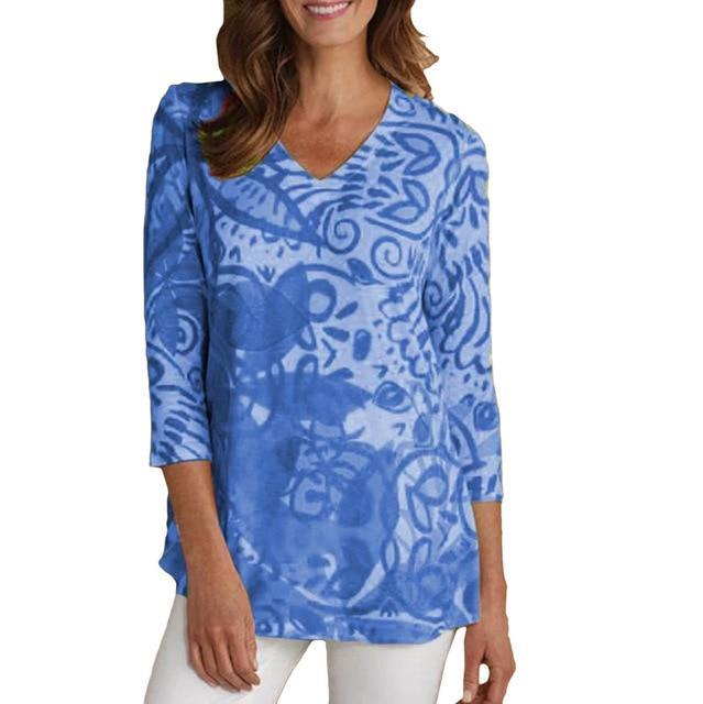 3/4 Sleeve Printed Casual V Neck T-Shirts AmericanGalore Blue S