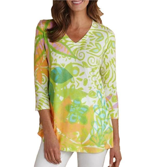 3/4 Sleeve Printed Casual V Neck T-Shirts AmericanGalore Green S