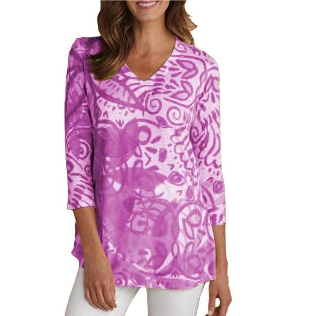 3/4 Sleeve Printed Casual V Neck T-Shirts AmericanGalore Purple S