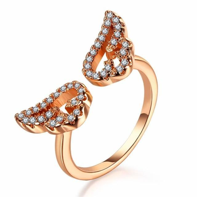 Angel Wing Ring AmericanGalore Resizable Rose Gold