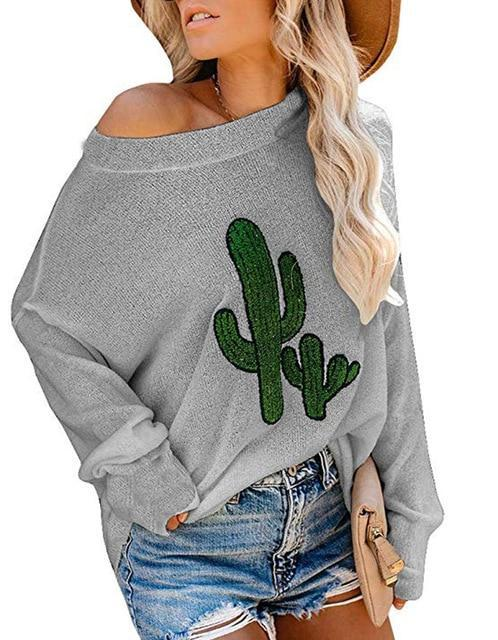 Cactus Cartoon Long Sleeve Sweater Casual Round Neck Daily Shift Tops - New York Galore