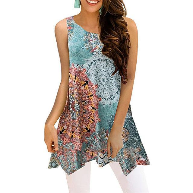 Crew Neck Sleeveless Irregular Printed Vests Tops AmericanGalore Colorful 1 S