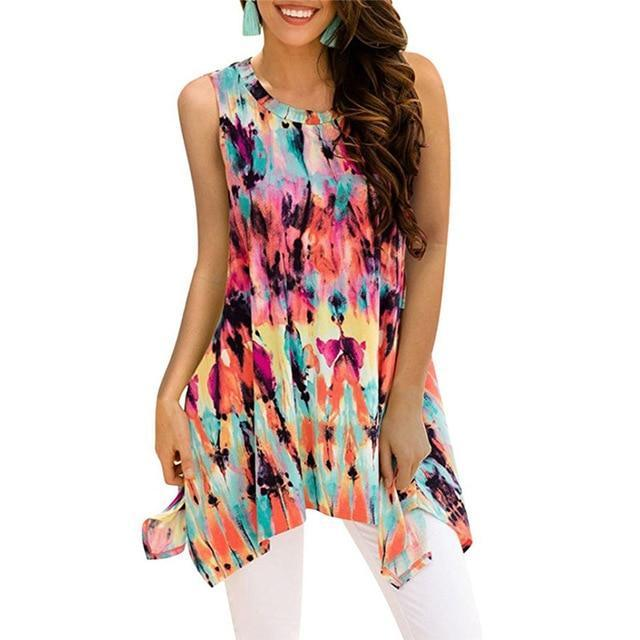 Crew Neck Sleeveless Irregular Printed Vests Tops AmericanGalore Colorful 2 S