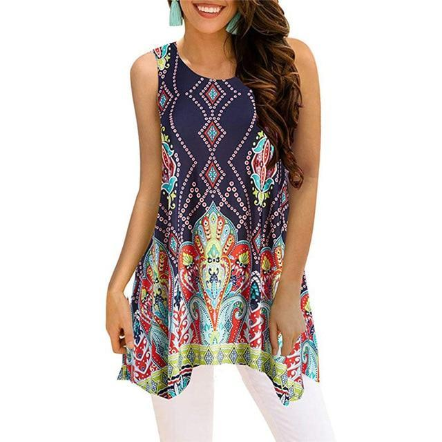 Crew Neck Sleeveless Irregular Printed Vests Tops AmericanGalore Colorful 3 S