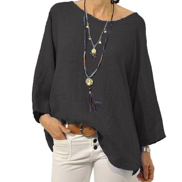 Crew Neck Solid Blouse Casual Tops AmericanGalore Black S