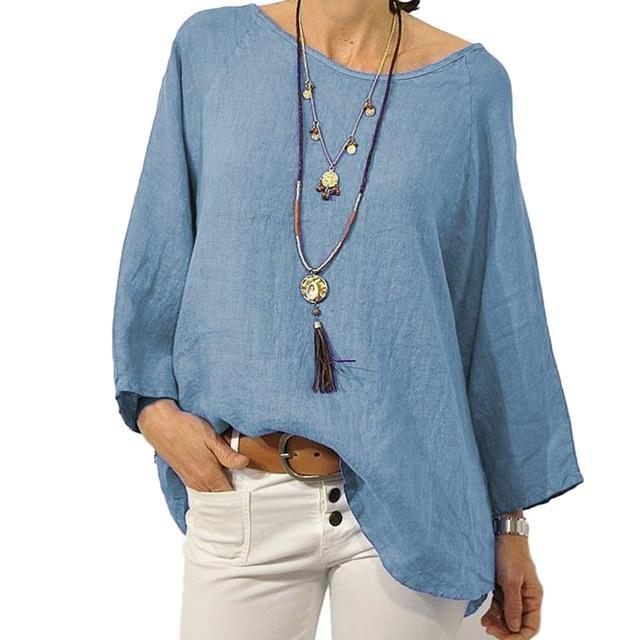 Crew Neck Solid Blouse Casual Tops AmericanGalore Blue S