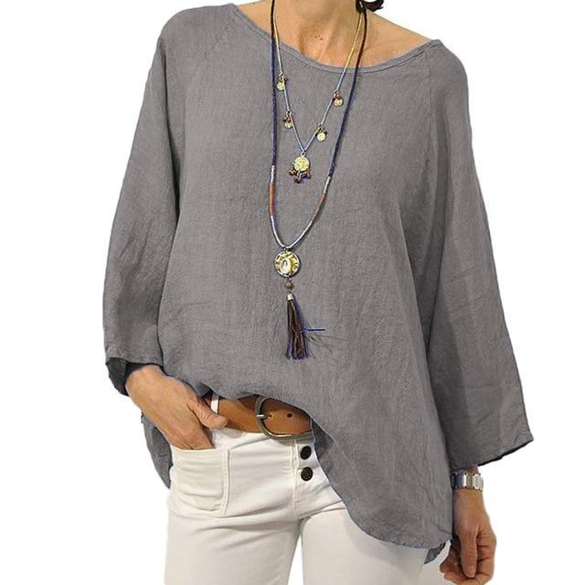 Crew Neck Solid Blouse Casual Tops AmericanGalore Gray S