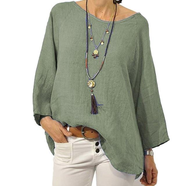 Crew Neck Solid Blouse Casual Tops AmericanGalore Green S