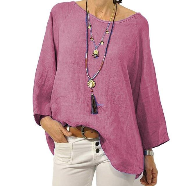 Crew Neck Solid Blouse Casual Tops AmericanGalore Rose Red S