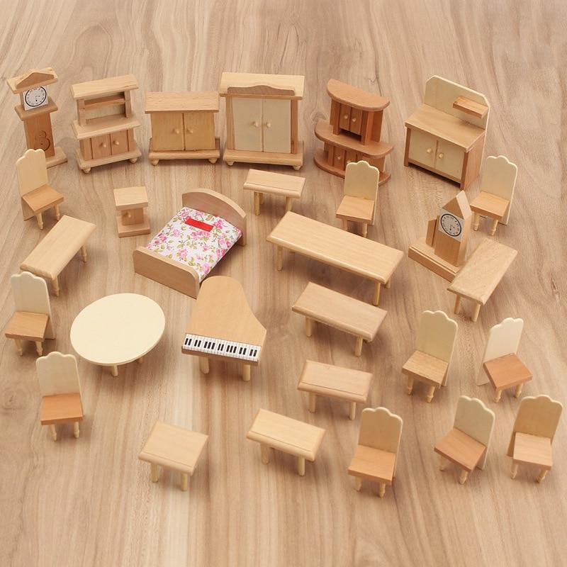 Dollhouse Miniature Unpainted Wooden Furniture AmericanGalore