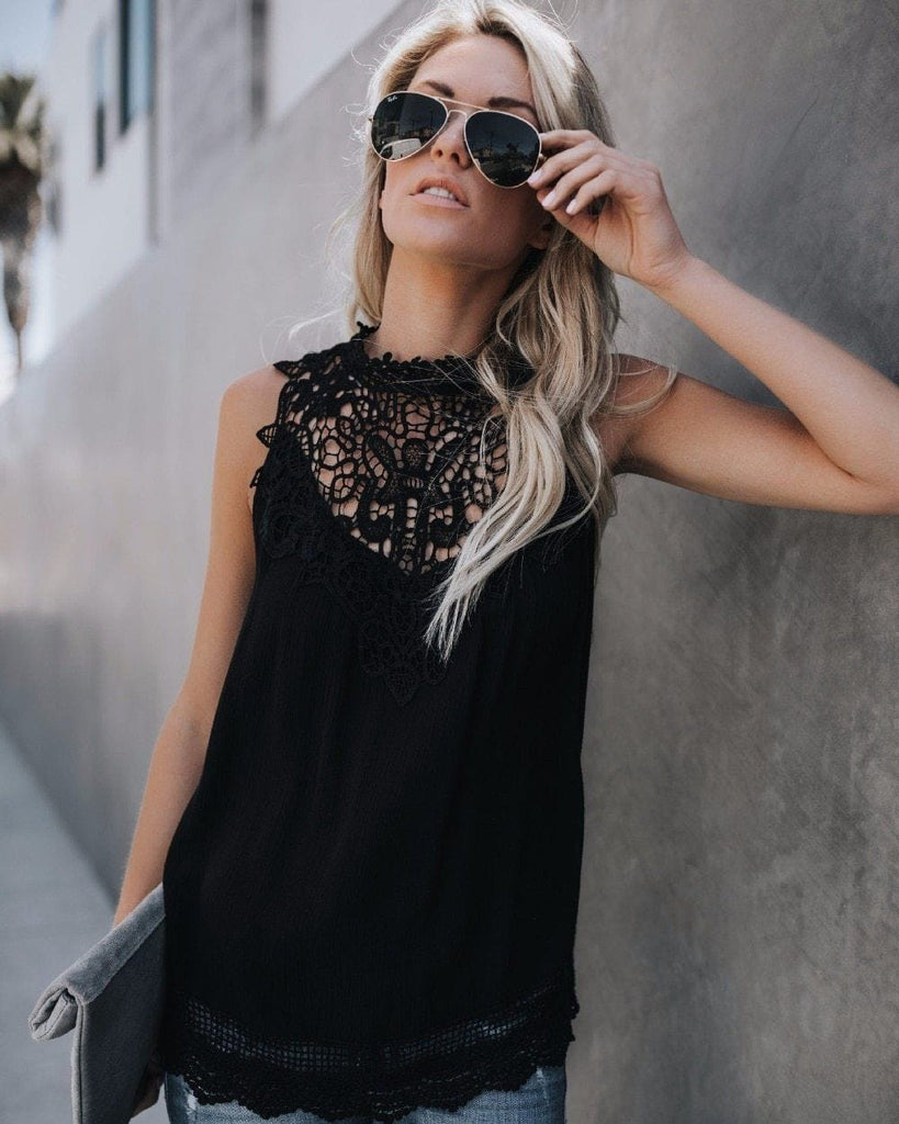 Fashion Lace Solid Sleeveless Crew Neck Blouses Tops AmericanGalore