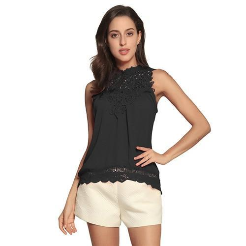 Fashion Lace Solid Sleeveless Crew Neck Blouses Tops AmericanGalore Black S