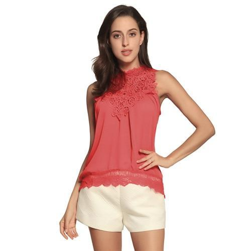 Fashion Lace Solid Sleeveless Crew Neck Blouses Tops AmericanGalore Red S