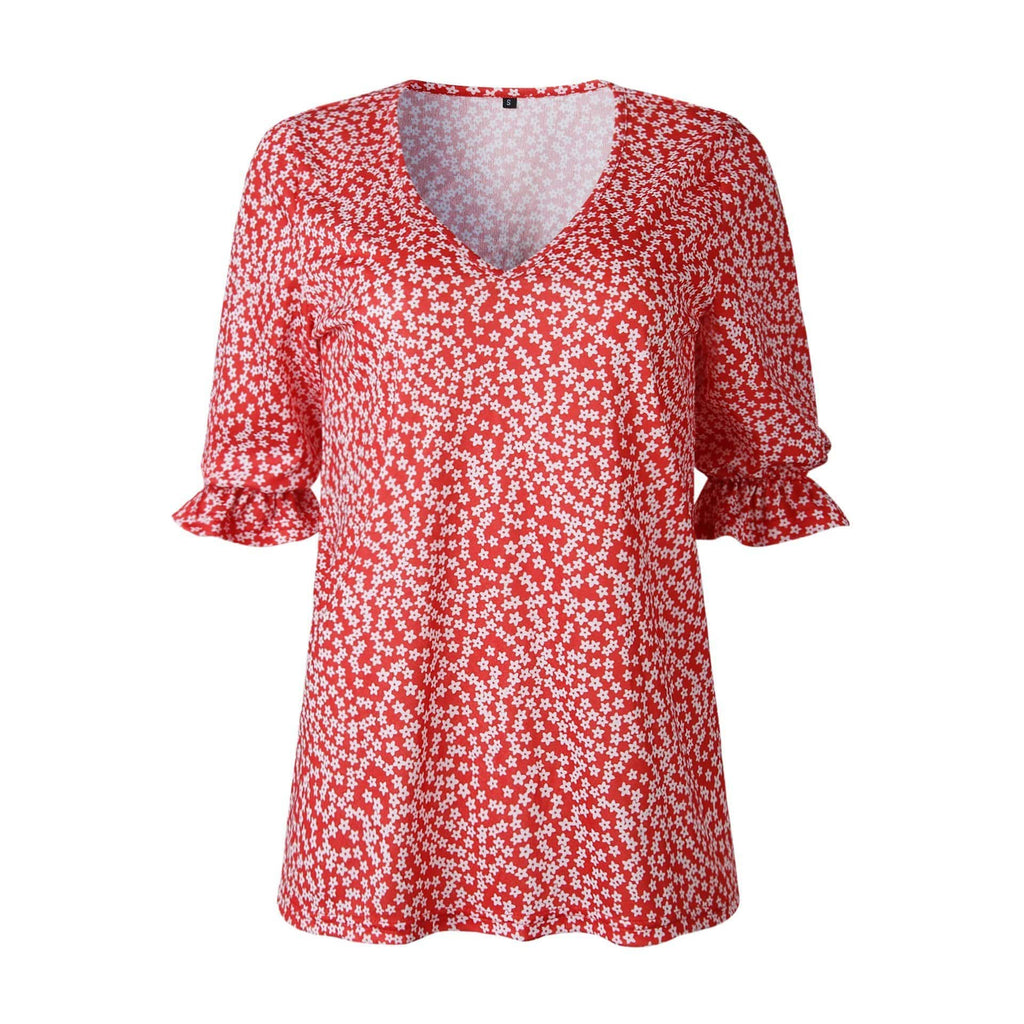 Fashion Printed Polka Dot V Neck Short Sleeved Blouses Tops AmericanGalore