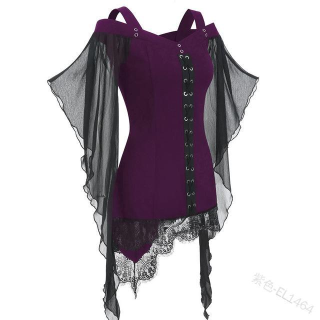Halloween Vampire Women Sexy Lace Tight Shirts & Tops - New York Galore