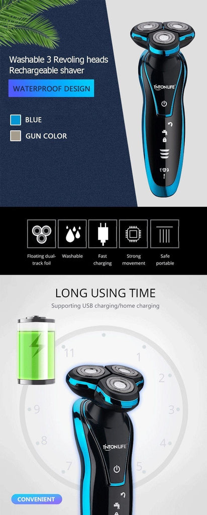 Men Washable Rechargeable Electric Shaver Electric Shaving Beard Machine Razor Rechargeable AmericanGalore