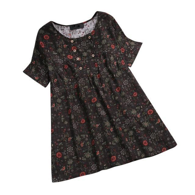 Plus Size Short Sleeve Vintage Floral Printed Blouses Tops AmericanGalore Dark Gray M