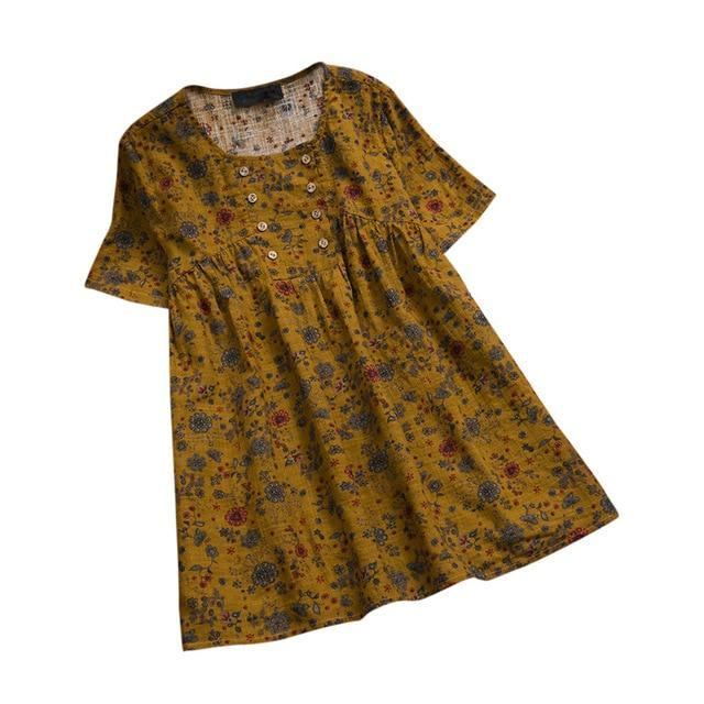 Plus Size Short Sleeve Vintage Floral Printed Blouses Tops AmericanGalore Dark Grey M