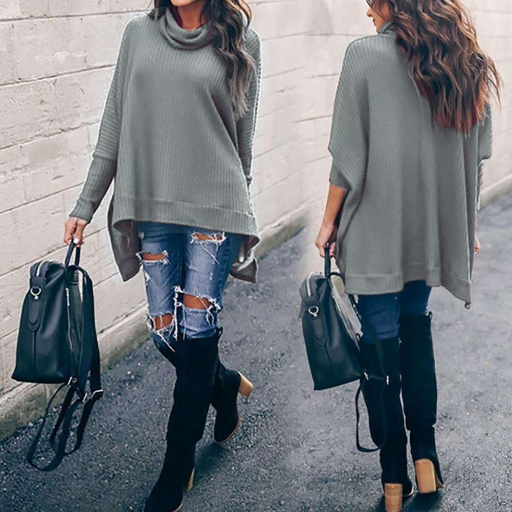 Solid Batwing Sleeve Women Fall Round Neck Casual Shirts & Tops - New York Galore