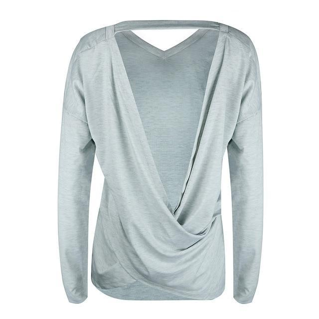 Solid Crew Neck Sexy Backless Long Sleeve T-shirts Tops AmericanGalore Gray S
